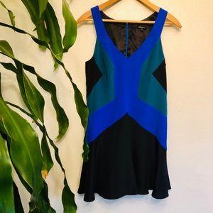 JAYGODFREY 80's Style Color Block Silk Dress